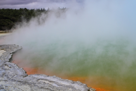 Beautiful volcanic hot spring in Rotorua, New Zealand photo