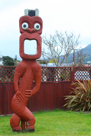 guard house: Traditional Maori carving  in Rotorua, North Island, New Zealand