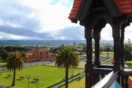 Vista della città dalla storica bagno di casa a Rotorua, Nuova Zelanda