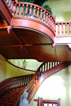 Beautiful wooden staircase in a historic building photo
