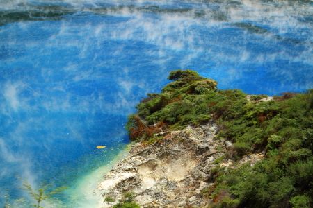 Frying pan lake claims to be the world's largest hot water spring, Rotorua, New Zealand