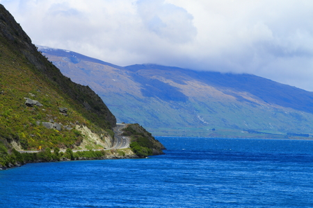 Beautiful lake shore in South Island, New Zealand photo