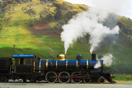 Historic steam train in South Island, New Zealand