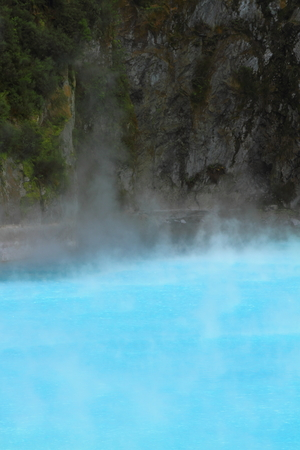 Beautiful geothermal lake in Rotorua, New Zealand photo