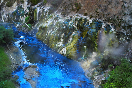 Colorful hot spring crater in Rotorua, New Zealand photo