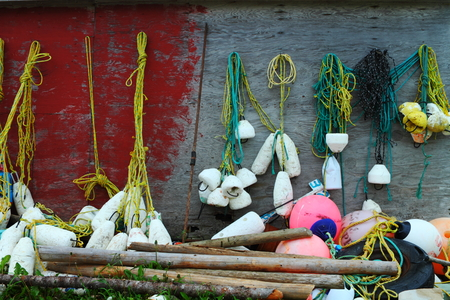 Fishing nets, floats, buoys used for fishing in Newfoundland, Canada photo