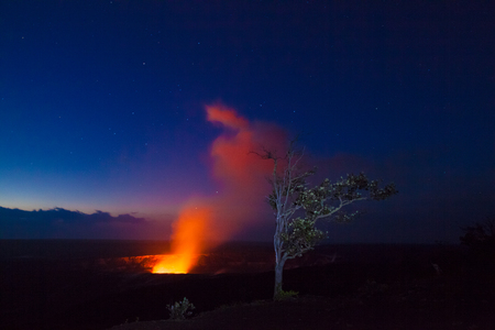 kilauea: Starry night photos of erupting volcano in Hawaii Volcanoes National Park, Big Island, Hawaii. Night photos, multiple minute exposure.
