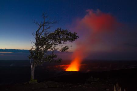 hawaii sunset: Starry night photos of erupting volcano in Hawaii Volcanoes National Park, Big Island, Hawaii. Night photos, multiple minute exposure.
