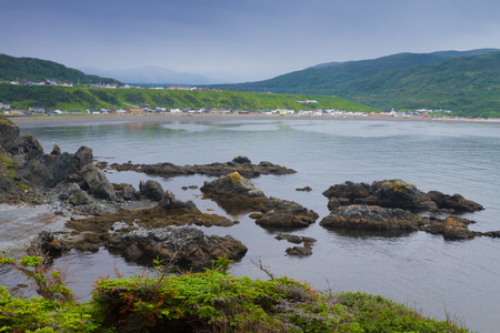 inlet bay: Beautiful  mountainous landscape with coastline and fishing villages in Newfoundland, Canada Stock Photo