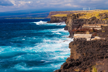 southernmost: Stunning view of the ocean from the southernmost point of Hawaii and the United States, Big Island, Hawaii Stock Photo
