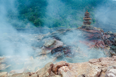 vents: Toxic sulfur fumes and volcanic vents at the barren bottom of Kilauea Crater in Hawaii Volcanoes National Park, Big Island, Hawaii Stock Photo
