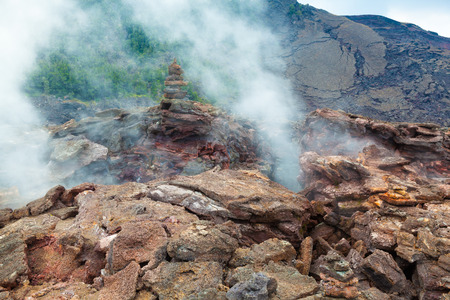 volcano: Toxic sulfur fumes and volcanic vents at the barren bottom of Kilauea Crater in Hawaii Volcanoes National Park, Big Island, Hawaii Stock Photo