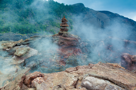 kilauea: Toxic sulfur fumes and volcanic vents at the barren bottom of Kilauea Crater in Hawaii Volcanoes National Park, Big Island, Hawaii Stock Photo