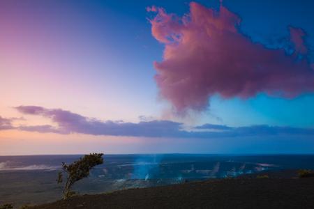 erupting: Volcano erupting at early sunrise at Hawaii Volcanoes National Park, Big Island, Hawaii