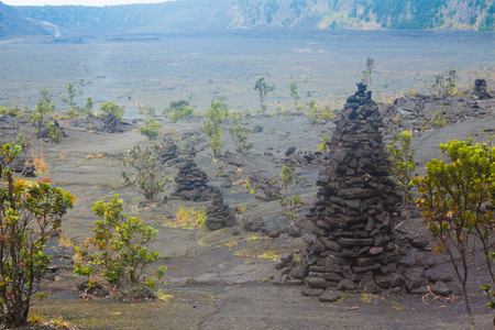 kilauea: Barren bottom of Kilauea Crater with sulfur gas vents  Stock Photo