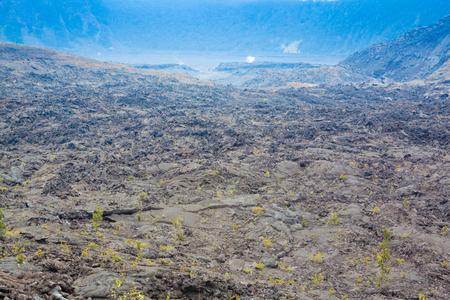 big island: Cracked barren bottom of Kilauea Crater in Hawaii Volcanoes National Park, Big Island, Hawaii Stock Photo