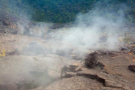 vents: Barren bottom of Kilauea Crater with sulfur gas vents n Hawaii Volcanoes National Park, Big Island, Hawaii Stock Photo