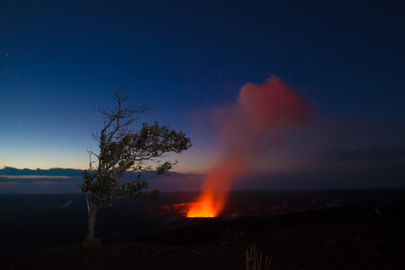 burning bush: Starry night photos of erupting volcano in Hawaii Volcanoes National Park, Big Island, Hawaii. Night photos, multiple minute exposure.