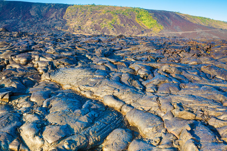 Molten cooled lava landscape in Hawaii Volcanoes National Park, Big Island, Hawaii Stock Photo