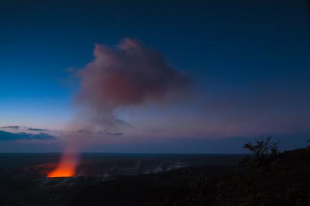 Starry night photos of erupting volcano in Hawaii Volcanoes National Park, Big Island, Hawaii. Night photos, multiple minute exposure.