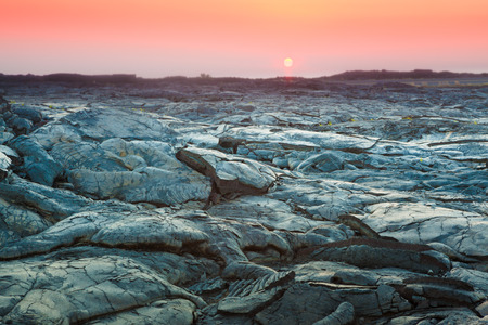 lava: Beautiful sunset over molten cooled lava landscape in Hawaii Volcanoes National Park, Big Island, Hawaii
