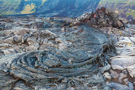Amazing shapes and patterns of molten cooled lava landscape in the evening in Hawaii Volcanoes National Park, Big Island, Hawaii