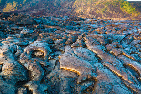 cooled: Molten cooled lava landscape in the evening in Hawaii Volcanoes National Park, Big Island, Hawaii