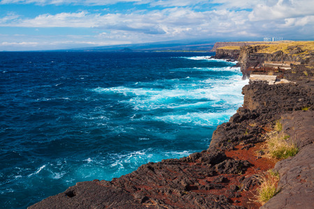 windy energy: Stunning view of the ocean from the southernmost point of Hawaii and the United States, Big Island, Hawaii Stock Photo