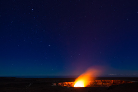 Starry night photos of erupting volcano in Hawaii Volcanoes National Park, Big Island, Hawaii. Night photos, multiple minute exposure.