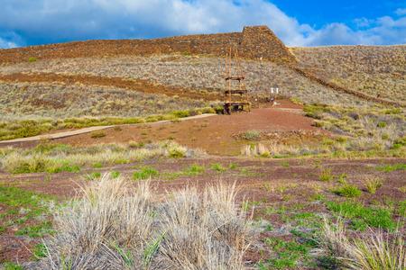 national historic site: The ruins of the major Hawaiian temple at the Puukohola Heiau National Historic Site, Big Island, Hawaii Stock Photo