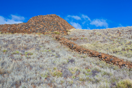 national historic site: The ruins of the major Hawaiian temple at the Puukohola Heiau National Historic Site, Big Island, Hawaii Stock Photo
