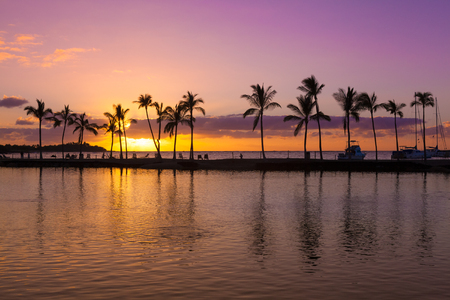 orange sunset: Beautiful sunset on Hawaiian beach, Big Island Stock Photo