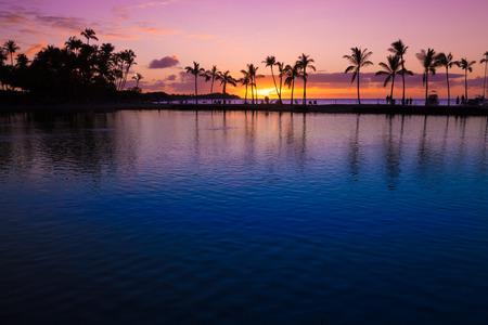 Beautiful sunset on Hawaiian beach, Big Island Stock Photo