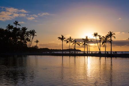 big island: Beautiful sunset on Hawaiian beach, Big Island Stock Photo
