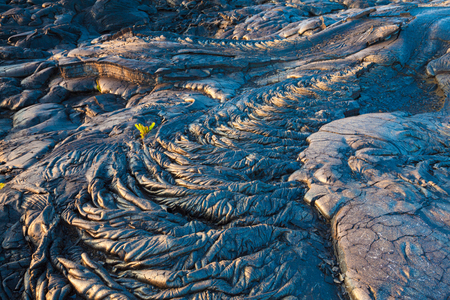 cooled: Amazing patterns and textures of molten cooled lava landscape in Hawaii Volcanoes National Park, Big Island, Hawaii Stock Photo