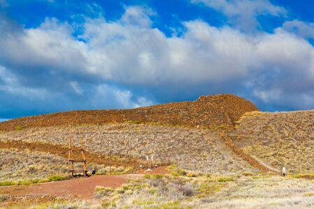 The ruins of the major Hawaiian temple at the Puukohola Heiau National Historic Site, Big Island, Hawaii Imagens