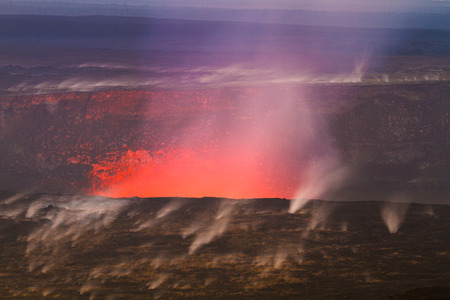volcanic eruption: Beautiful volcanic eruption at dawn with small steaming vents on Big Island, Hawaii