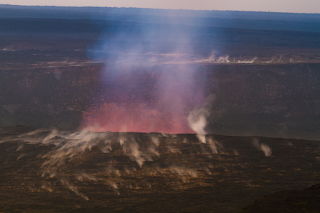 vents: Beautiful volcanic eruption at dawn with small steaming vents on Big Island, Hawaii