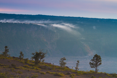 Sulphur steam flowing from the volcanic vents in Hawaii Volcanoes National Park, Big Island, Hawaii