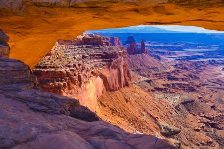 mesa: Mesa Arch in Canyonlands National Park in Utah Stock Photo