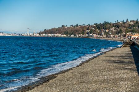puget: A view of Alki Beach shoreline in West Seattle, Washington