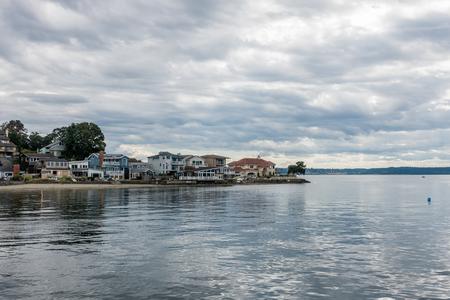 residences: A view of residences along the shoreline at Dash Point, Washington.