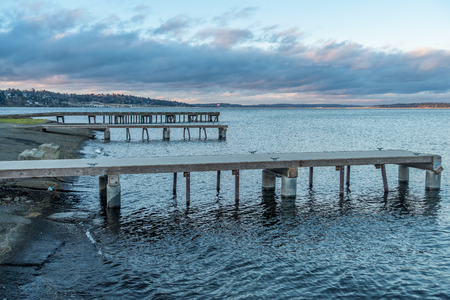 A veiw of piers on Lake Washington near Seattle at dusk.