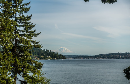 Mount Rainier can be seen in the distance with Lake Washington in the foregrund. Mercer Island is on the left. Shot taken at Seward Park. Stock fotó