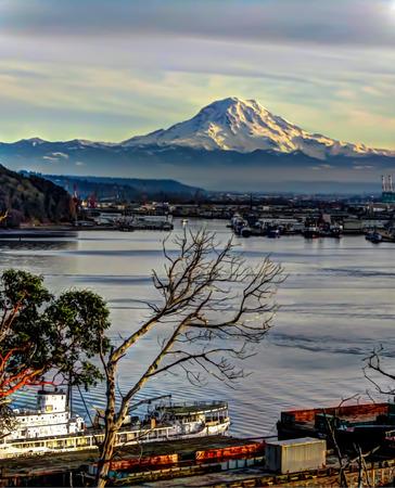 Mount Rainier Over Port HDR Stock Photo