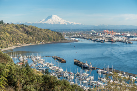 tacoma: A panoramic view of Mount Rainier, The Port of Tacoma and a marina.