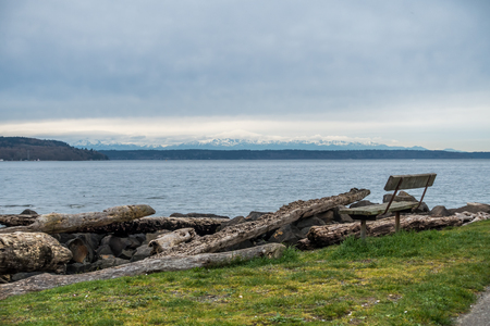 waster: A view of the Olympic Mountains from Salt Waster State park.