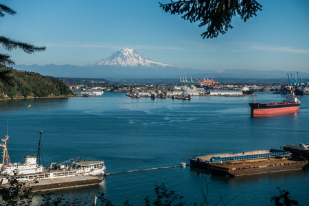 tacoma: A panoramic shot of the Port of Tacoma with majestic Mount Rainier in the distance.