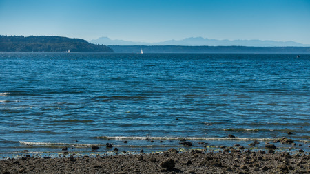 puget: A view of the Puget Sound with the Olympic Mountains in the distance. Stock Photo