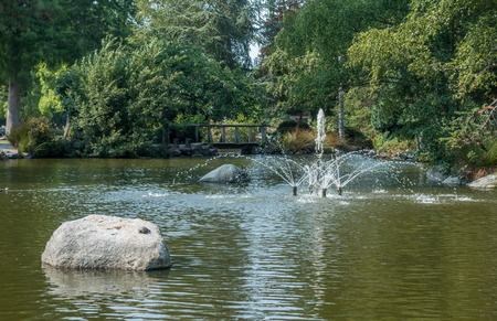 defiance: View of a fountain at Point Defiance Park in Washington State.